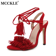 MCCKLE 2017 Summer Women Tassels Ankle Strap Sexy High Heels Party Dress Pumps Female Rome Lace Up Thin Heel Gladiator Sandals(China)