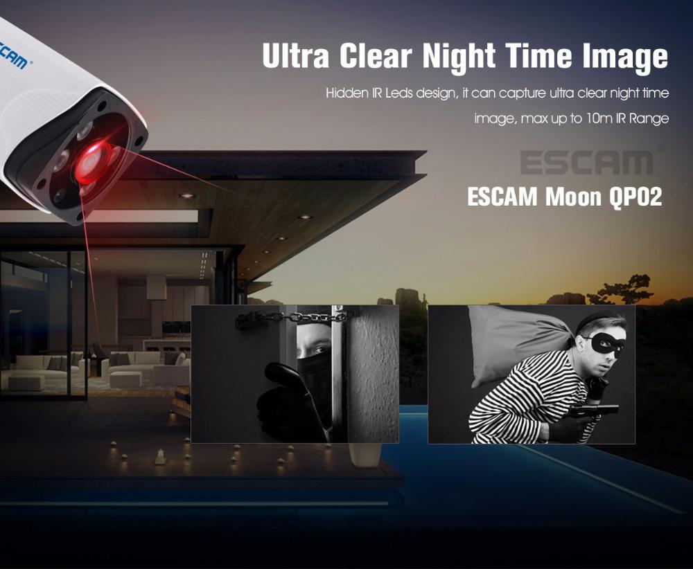 Escam Moon QP02 2MP HD 1080P WIFI Alarm Camera Outdoor Bullet IR-Cut 180 degree Security ip Camera Support Max 64G TF card (7)
