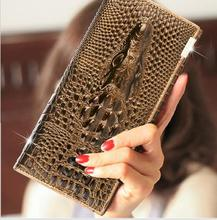 Stock Promotion 3 D Crocodile Head Leather Wallet Women Brifold Long Genuine Leather Clutch Purse Hasp Female Cellphone Bag