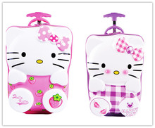 18Inch Girls 3D Hello Kitty Suitcase On Wheels/Kids ABS Hardside Travel Luggage/Children Cartoon Brand Trolley Case School Bags