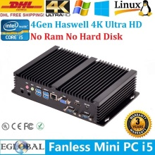 IPC i5 Barebone Mini PC Win8 Fanless Nettop 3 Years Warranty Intel Core i5 4200U 2*COM HDMI HTPC 4K HD XBMC DHL Free Shipping