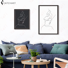 KISS - Picasso Minimalist Art Canvas Poster Painting Black White Linear Art Abstract Picture Print Modern Home Room Decor