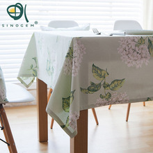 Sinogem Floral Christmas Table Cloth Pastoral Style Home Decoration Table Protector Covering 100% Cotton Dinner Tablecloth(China)