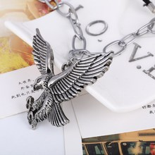 Fashion Punk Men Pendant Necklace Vintage Stainless Steel Eagle Statement Necklace Summer Style Rope Jewlery Wholesale Gifts(China)