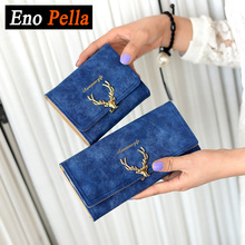 Latest Christmas Deer Girl Small Black Clutch coin purses holde Women Leather Wallet VintageTri-Folds Luxury Cash Purse