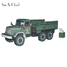 1:43 3D  16 X 6cm Soviet Union Zil-131 Army Truck  Paper Model Second World War Assemble Denki & Lin Puzzle Game DIY Kids Toy