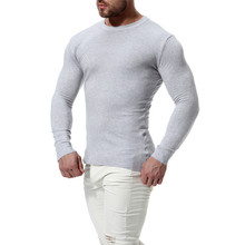 Buy Casual Men's Round Neck Slim Sweater Fashion Men Solid Color Long Sleeve Knit Bottoming Shirt Male 2018 New British Style for $6.56 in AliExpress store