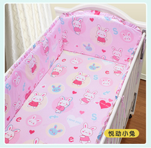 Promotion! 5PCS Hello kitty Baby Bedding Printing Crib Bedding Set Baby Bumper,include (4bumpers+sheet)
