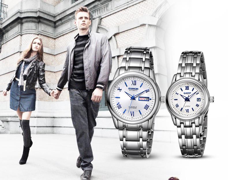 1 Pair GUANQIN Lovers Mechanical Watches Couple Automatic Watch Men Women Clock Auto Date Luminous Waterproof Brand Watch Men (7)