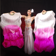 Real Silk Long Fan Veil For Belly Dance Thicker Oriental Dancing Veil Fan Right Left Hand 180cm White Pink