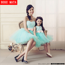 Mother Daughter Matching Dresses Clothes 2016 Sweetie Princess Ball Down Women Party Dress Outfit Bow Belt Princess Girl Dresses