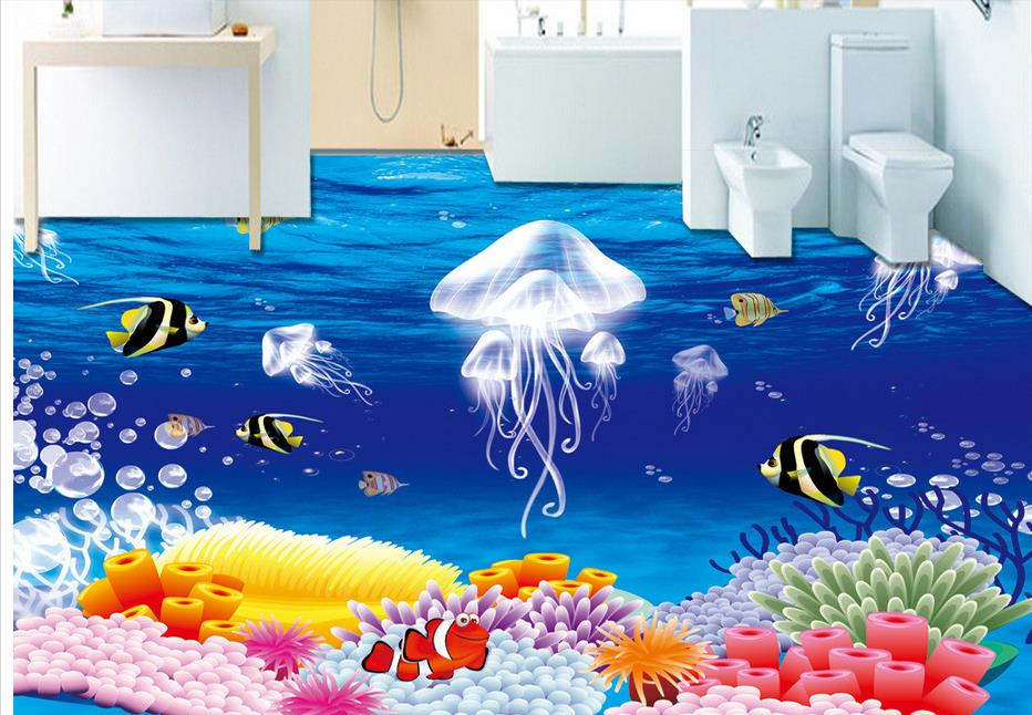 3d flooring Custom wallpaper Waterproof 3d floor tiles Jellyfish pvc vinyl flooring self adhesive wallpaper<br><br>Aliexpress