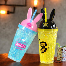 The new cute bunny ears suction cup Creative and cool rabbit ice Fashion double suction plastic cartoon cup(China)