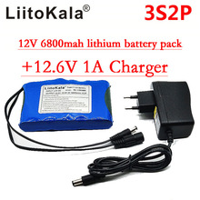 Liitokala Portable Super Rechargeable Lithium Ion battery pack capacity DC 12V 12.6v 6800mah battery CCTV Cam Monitor(China)