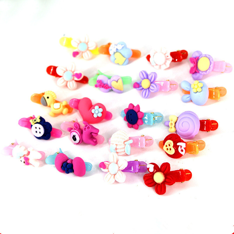 Fashion 50PCS Baby Girl Resin Hair Claw Cartoon Mini Clip Clamp Kids