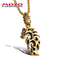 Wholesale 2016 new fashion fine jewelry men necklaces stainless steel silver / gold dragon pendants male personality gift MGX946(China)