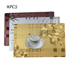 Rectangle Roses Silicone PVC Table Mats for Dining Table Desk Drink Wine Coasters Heat Insulation Waterproof Placemat Holder