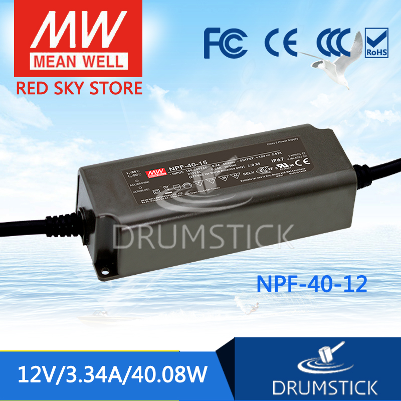 Genuine MEAN WELL NPF-40-12 12V 3.34A meanwell NPF-40 12V 40.08W Single Output LED Switching Power Supply<br>