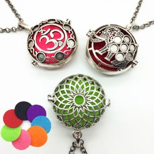 3pcs Tibetan Silver Hollow Daisy Elephant Locket Essential Oil Fragrance Diffuser Fashion Mexican Bola Brass Pendant Necklace