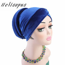 Helisopus 2019 Fashion New Ladies Velvet Soft Turban Hat Muslim Women's Stretch Pure Color Headscarf Cancer Chemo Hats(China)