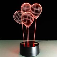 3D Lamp Visual Light Effect Touch Switch & Remote Control Colors Changes Night Light (Four Balloon)