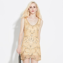 Sexy Slim Sleeveless V Neck Deep V Back Mini Beading Sequin Party Dress Paisley Gold Mesh Bodycon Club Short Tank Dress Vestido(China)