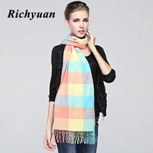 New Fashion Winter Scarf Cashmere Women's Scarf Scarf New Designer Autumn Men Wool Plaid Bandana Scarves and Wraps(China)