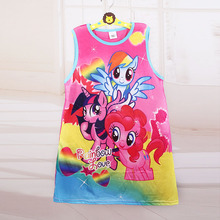Hot Sale New 2017 baby girl Cartoon Fashion princess flower dress summer casual for kids children roupas infantil meninas(China)