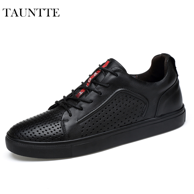 Tauntte 2017 New Summer Fashion Fretwork Genuine Leather Men Shoes Breathable Anti-Odor Low Cut Casual Shoes<br>