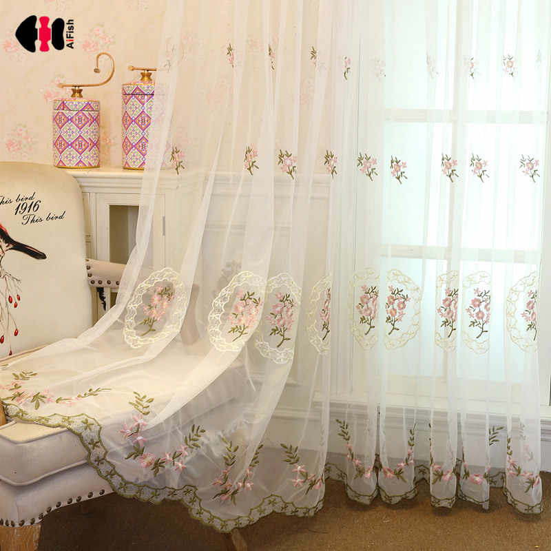 Floral Embroidered Voile Curtain for Bedroom Simple Modern Rural Delicate Sheer Pink Blue Window Treatment Gauze JS36C