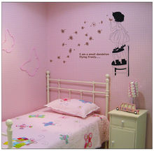 kids baby girl blow dandelion Fly Free quote home decal removable romantic wall stickers child room bedroom lovely decoration