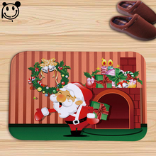 PEIYUAN Christmas Cartoon Santa Snowman Snow Flannel Doormat New Design Floor Mat Tapete for Decorator Home Carpet for Bedroom(China)