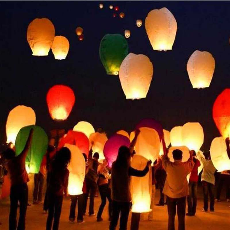 chinese paper lantern paper Colorful Flying Wishing Lamp Sky Lanterns Hot Air Lantern Birthday Wedding Party Decoration(China (Mainland))