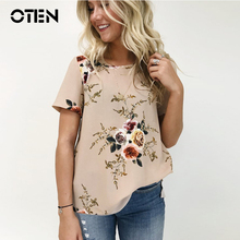 OTEN Plus Size 3XL woman tops Summer Short sleeve Flower Prints Casual beautiful tee shirts trending products 2018 t shirts(China)