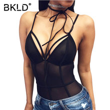 BKLD 2017 Summer Women Bodycon Patchwork Bodysuits Sexy Mesh Sheer Transparent Coverall Rompers V-neck Club Wear Bodycon Catsuit(China)