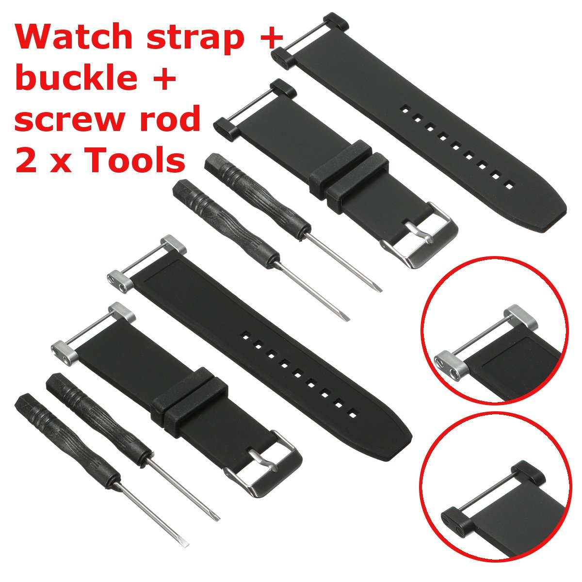 Watchband Watch Strap 22MM Black Soft Rubber Silicone+Stainless Buckle + Screw Rod Replacement For Suunto Core Accessories<br><br>Aliexpress