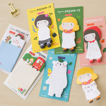 Free shipping memo pad decoration New arrival korea stationery cartoon apron girl sticky note paper sticky n times stickers