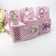 12pcs pink Laser cut baby girl Candy Box Bib milk bottle bear DIY Christening Baby Shower Party Favor Boxes Paper Gift box