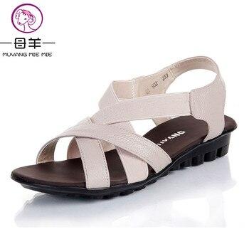 MUYANG MIE MIE 2017 d'été chaussures femmes appartements femmes en cuir véritable chaussures plates sandales casual confortable sandales femmes sandales