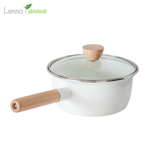 Ceramic Sauce Pan Lemorange 18cm Milk Egg Frying Pan Glass Cover Wood Handle Thickening Enamel Cookware TQQ0124