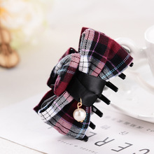 5pcs Classic Plaid Butterfly pearl large hair crab claw clip For womens accessories lady Hairbands girls Ponytail holder hairpin(China)