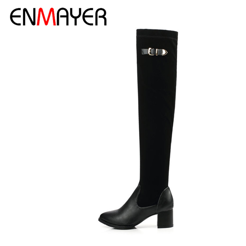 ENMAYERnew Knight boots winter hottest sexy velvet matte long boots women slim fit over the knee boots female stretch tall boots<br><br>Aliexpress