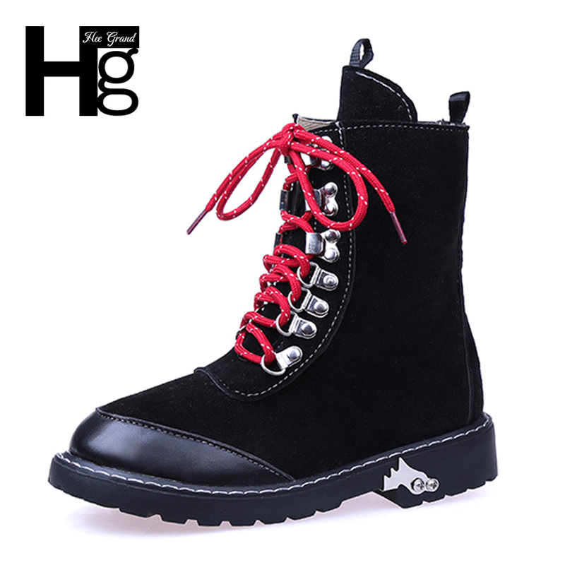 HEE GRAND Nubuck Leather Women Boots Quality Plush Cool Boot Warm Autumn Spring Cowboy Lady Black Lace up Female Shoes XWX6212(China)