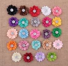 50 pcs/lot 24colors new 2014 Satin Ribbon Multilayers fabric flowers for headbands without clips girl DIY hair accessories