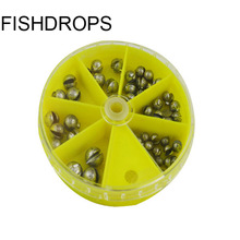 Free Shipping fishing lead sinker fish beans box fish plumb fishing tackle accessory 50pcs(China)
