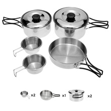 Outdoor Cookware Pots Set Stainless Steel Cooking Set Backpacking Cooking Picnic Bowl Pot Pan Set