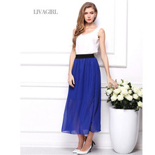Fashion Summer Style Long Skirt Solid Ankle Length Pleated Natural Chiffon Maxi Shirt Beach Boho Vintage Skirts Faldas Saia