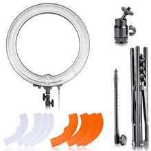 Neewer Dimmable Light 18-Inch Diameter 75W Ring Fluorescent Flash Light And Stand Kit for Photography Lighting YouTuber US Plug(China)