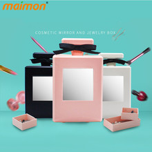 Perfume Bottle Design Makeup Mirror Jewelry Storage Box Table Plastic Rings Earrings Necklaces Makeup Holder Case Organizer Gift