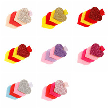 8pcs/lot New four love children hair clips gold felt cloth peach heart baby headdress girls accessories